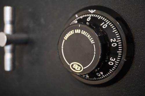 S&G dial on a black safe