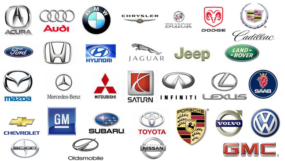 collage of car brand logos